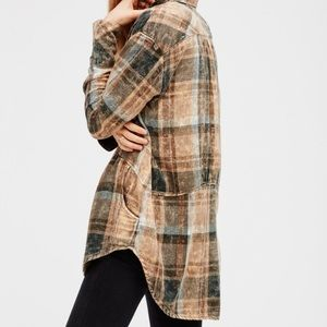 Free people easy street green flannel tunic large
